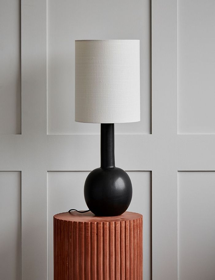 Rose & Grey Tall Black and Ecru Table Lamp
