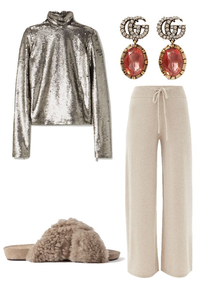 Christmas party outfit ideas 2020: sofa sequins