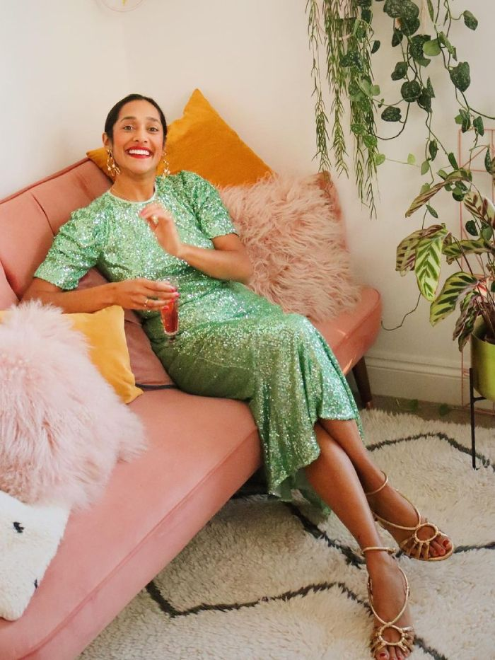 new year's eve outfit ideas: zeena shah in head-to-toe green sequin outfit from whistles
