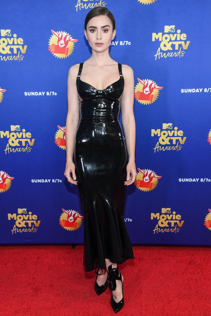 Lily Collins's Latex Dress Is the Opposite of Emily in Paris | Who What Wear