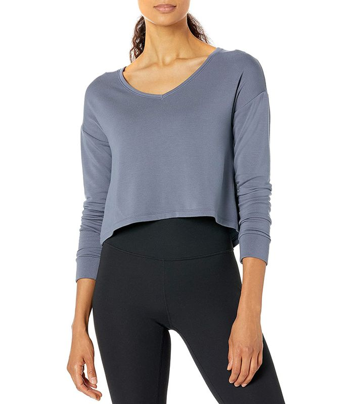 Core 10 Cropped Flow V-Neck Relaxed Fit Yoga Sweatshirt