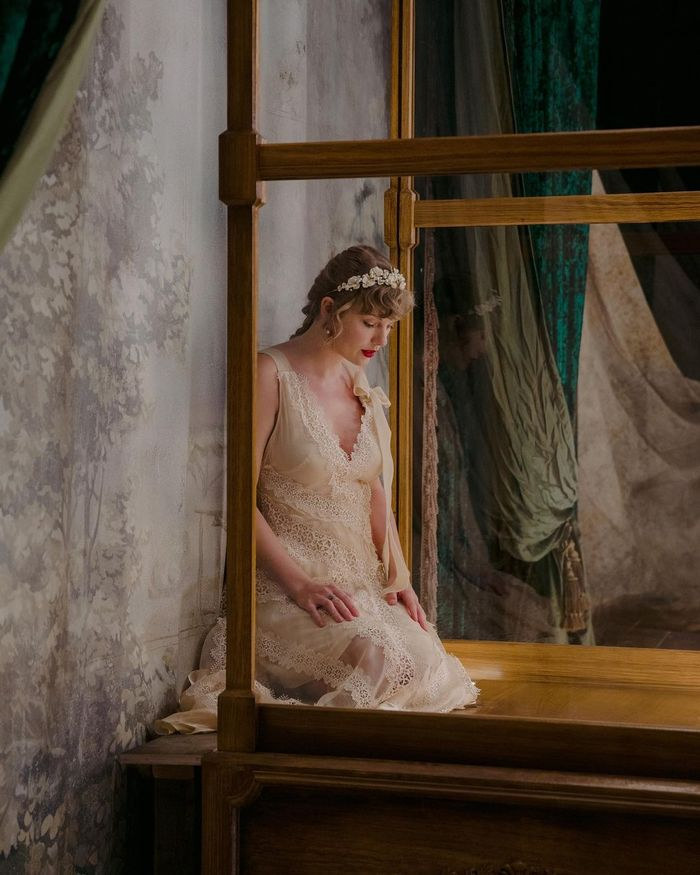 taylor swift evermore dress and tiara