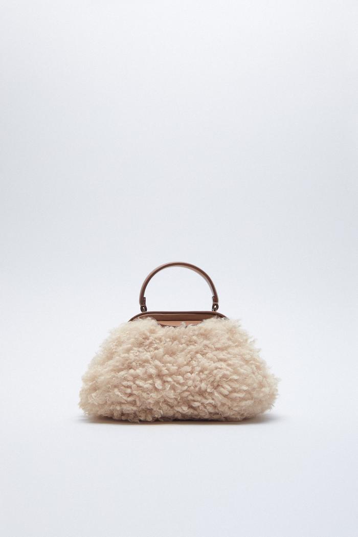 Zara Faux Shearling Crossbody Bag