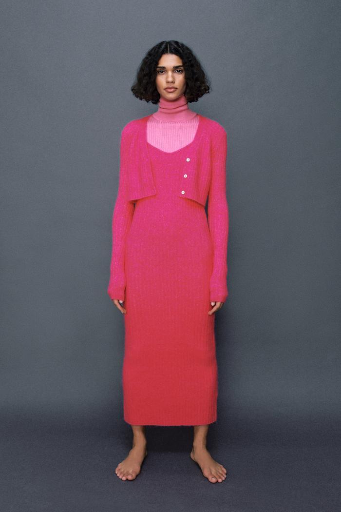 Zara Ribbed Wool Blend Dress