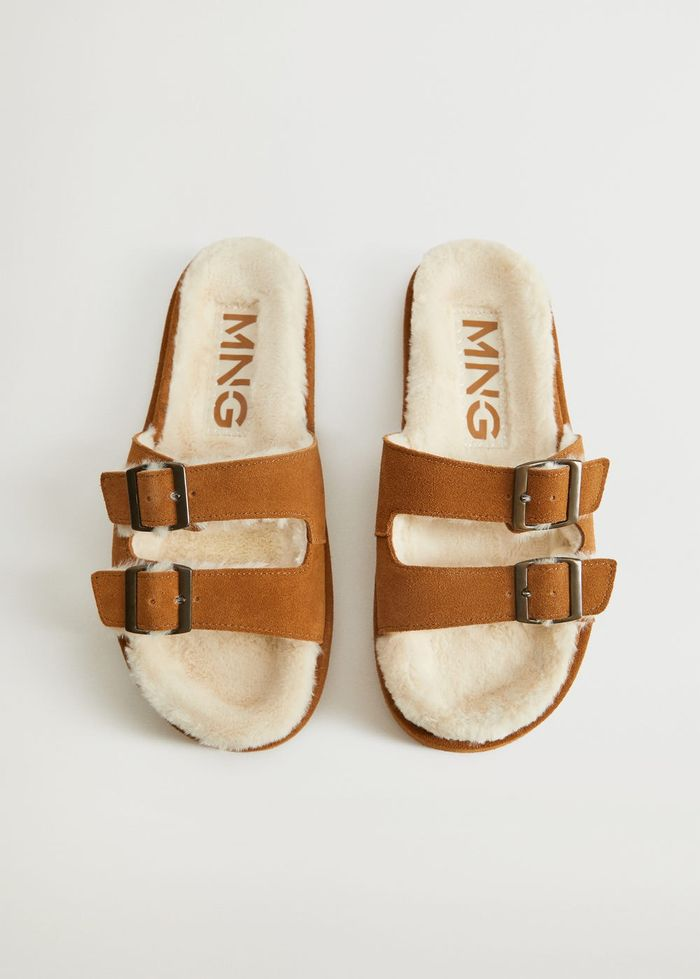 Mango Faux-Fur Sandals With Buckle