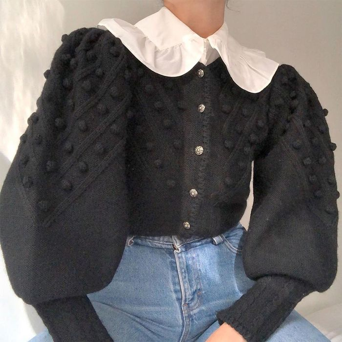 2021 styling tricks: big collars under cardigans