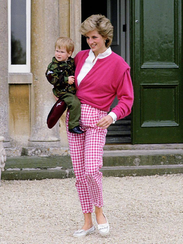 2021 Princess Diana Trends: Checkerboard Print Trousers