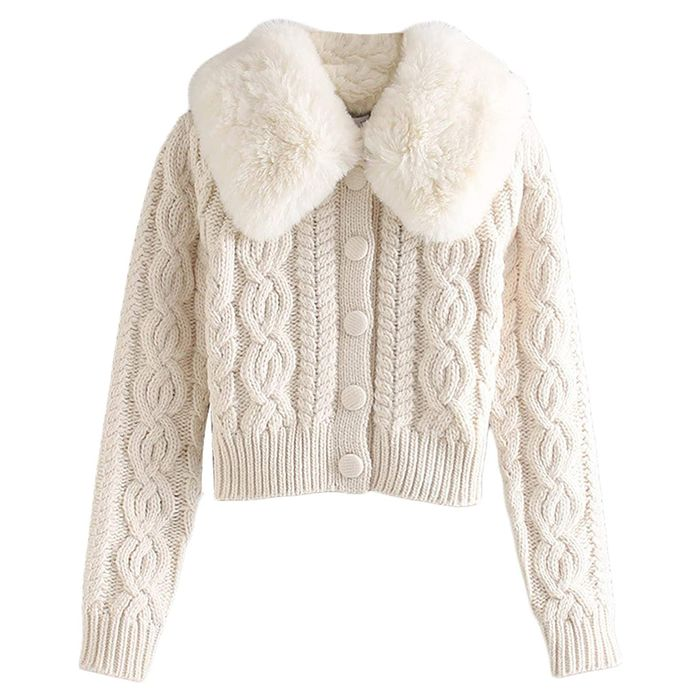 Mylleure Fluffy Long Sleeve V-Neck Cropped Knit Cardigan Sweater