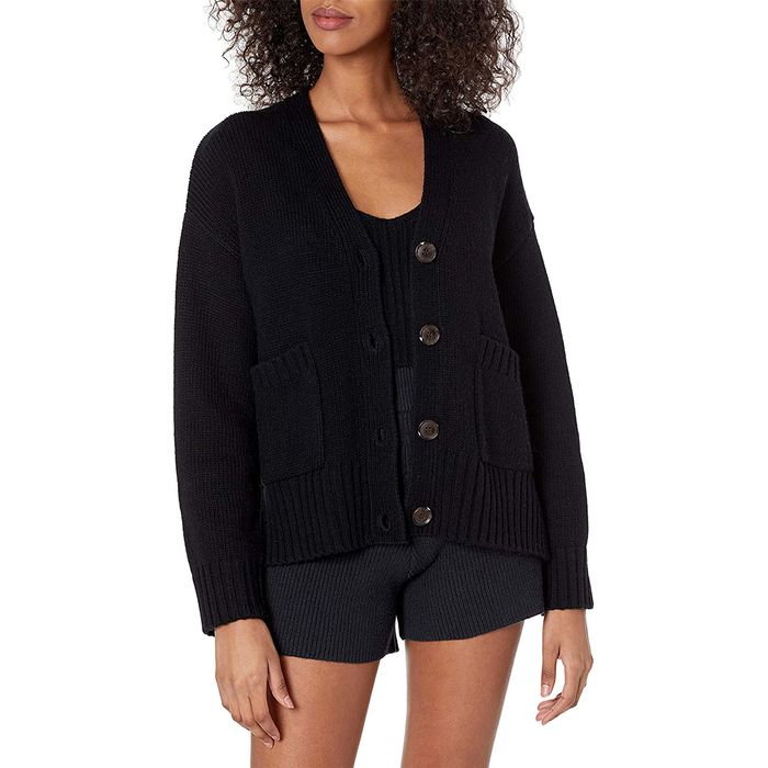 The Drop Brigitte Chunky Button Front Pocket Ribbed Cardigan