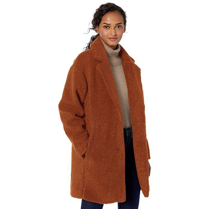 Daily Ritual Teddy Bear Fleece Oversized-Fit Lapel Coat