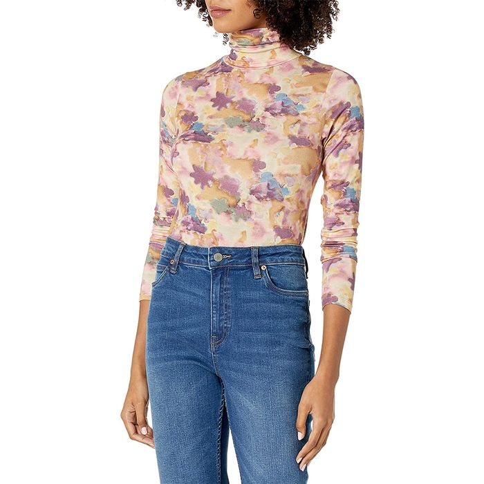 The Drop Phoebe Long Sleeve Turtleneck Second Skin T-Shirt