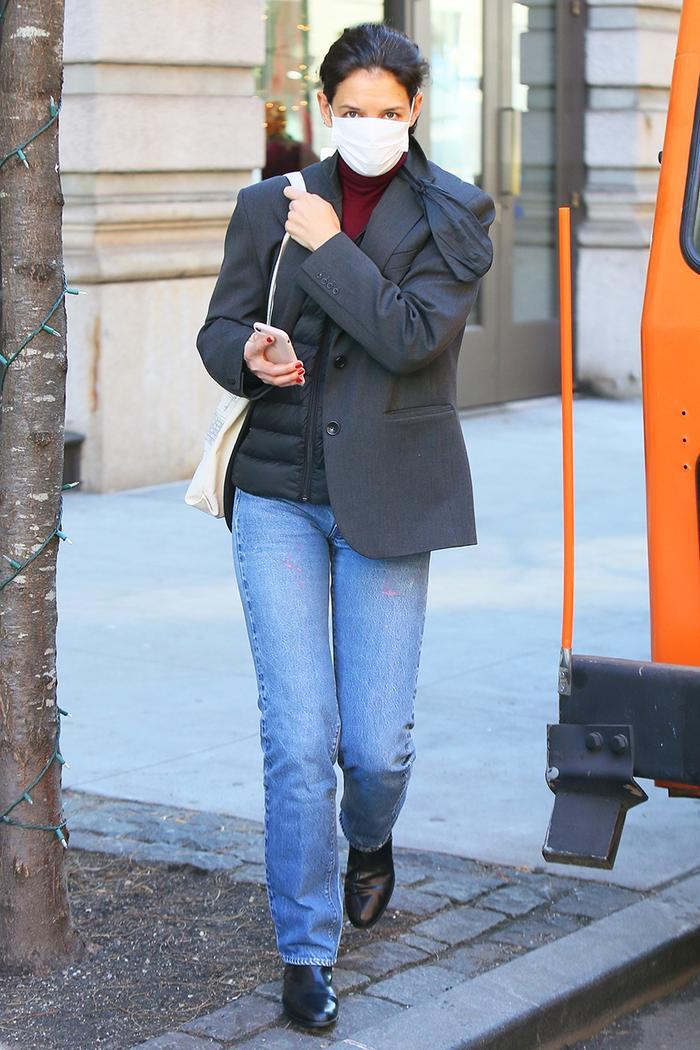 Katie Holmes puffer vest