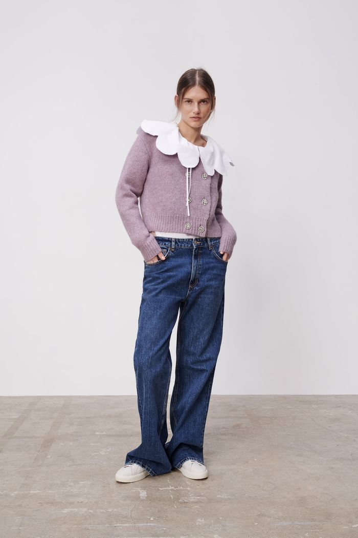 Zara Rhinestone Buttoned Cardigan