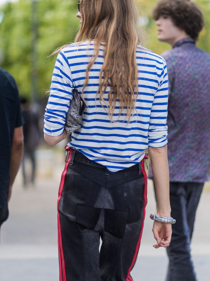 saint james breton: street styler wearing a striped tee