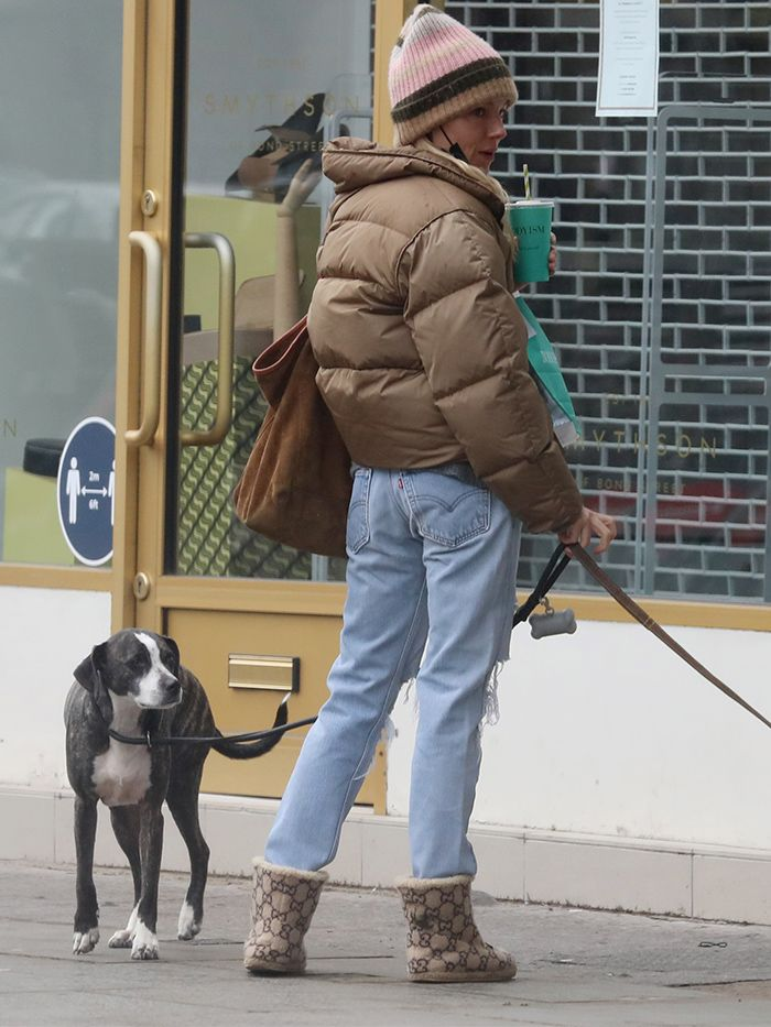 Sienna Miller Style: Puffer Coat + Jeans + Boots