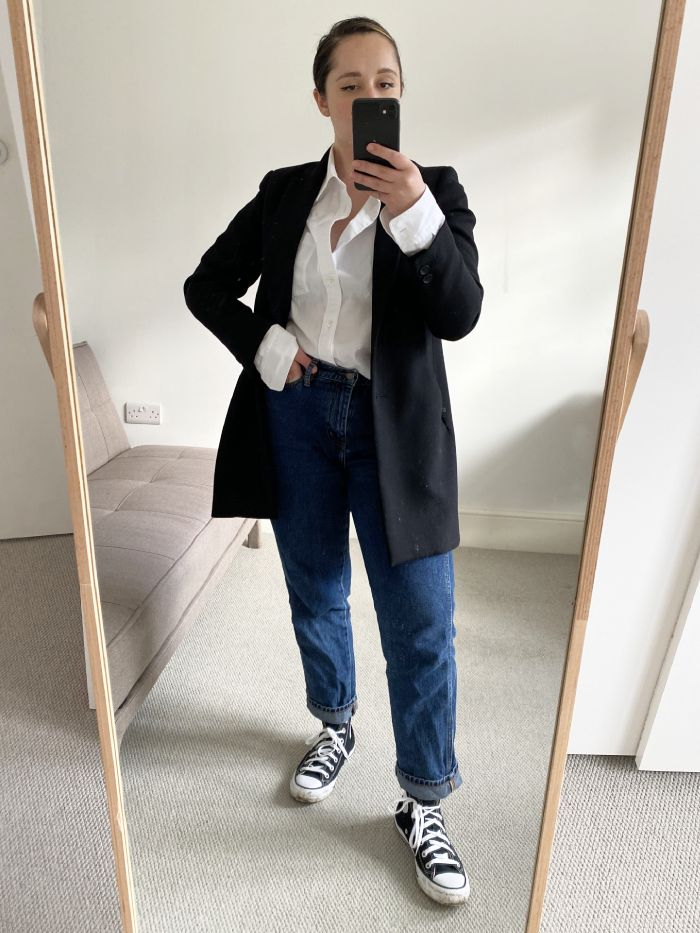 how to style a white shirt: elinor block in a white shirt from arket