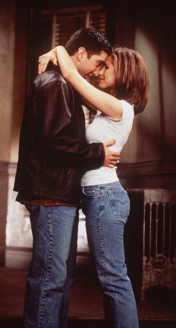 iconic denim looks: rachel green and ross gellar wearing blue jeans and a white top