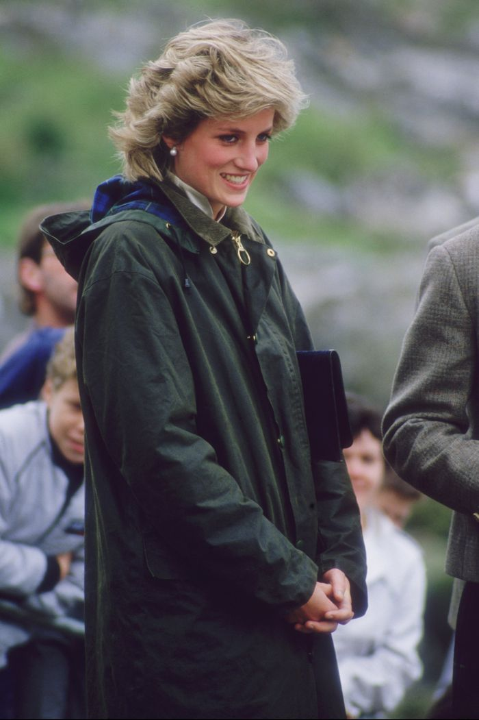Barbour Jacket: Princess Diana wears a longline Barbour jacket