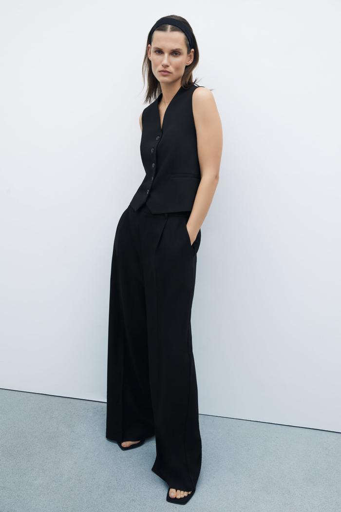 Zara Wide Leg Menswear Style Pants
