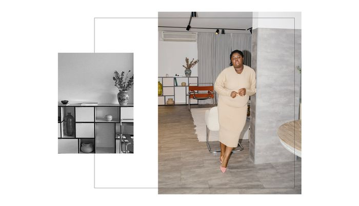 Abisola Omole style: beige knitted dress and chic apartment