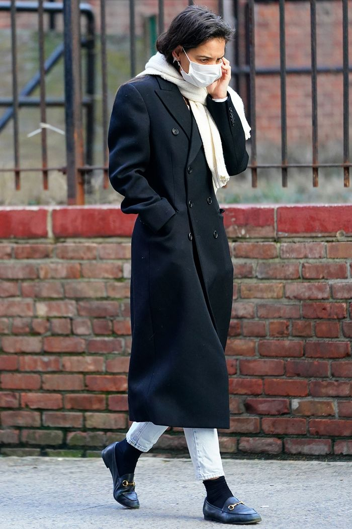 Katie Holmes Style: Tailored Coat, Jeans, Loafers