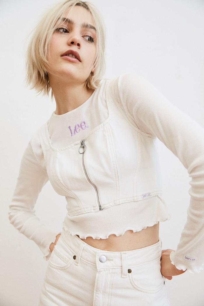 H&M Denim Corset-Style Top