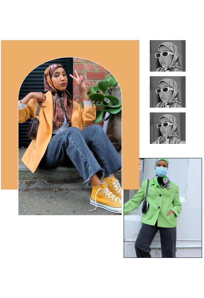 gen z trends: basra wearing an orange blazer with jeans