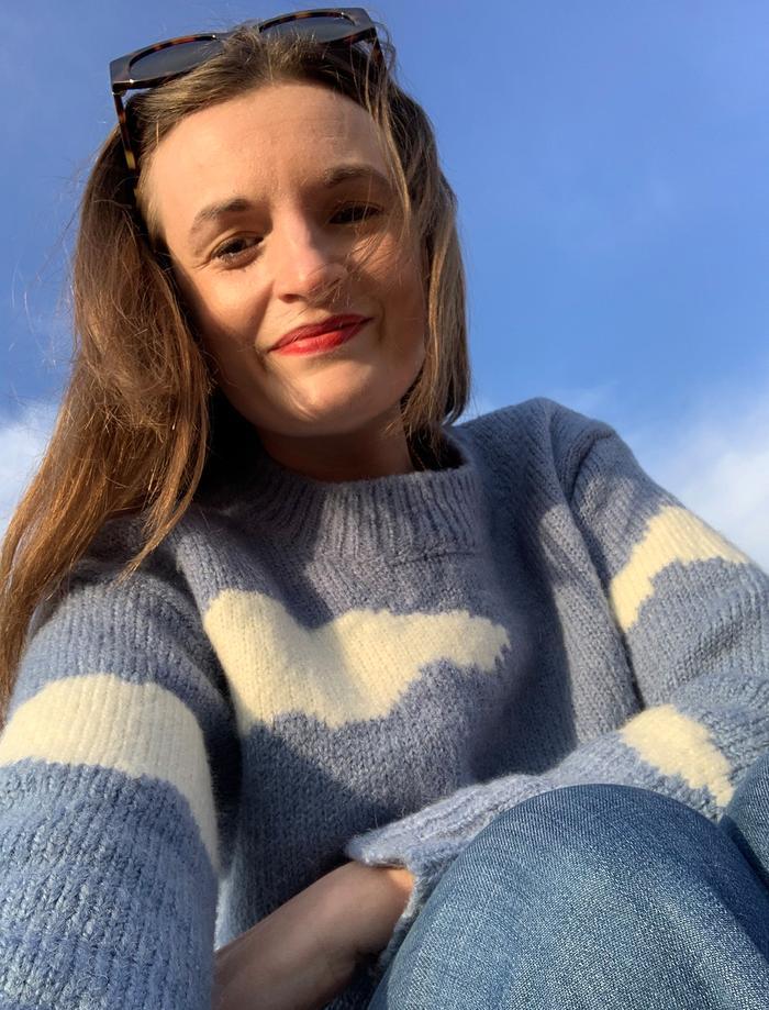 Best Spring knitwear: blue sky cloud jumper