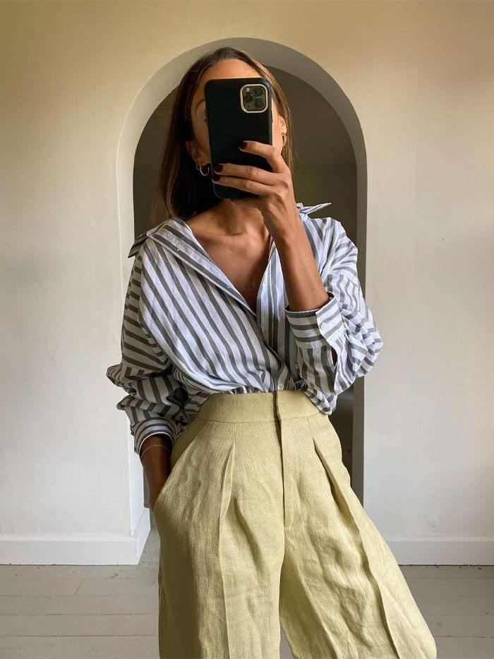 Arket Spring Buys: striped shirt and linen trousers