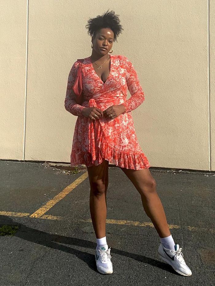 Influencers wearing Ganni:  Floral Wrap Dress