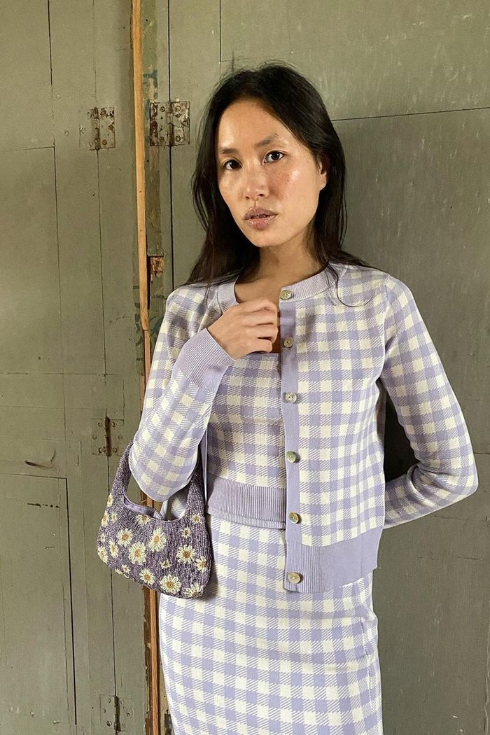 spring outfits 2021: lilac gingham knitted co-ords