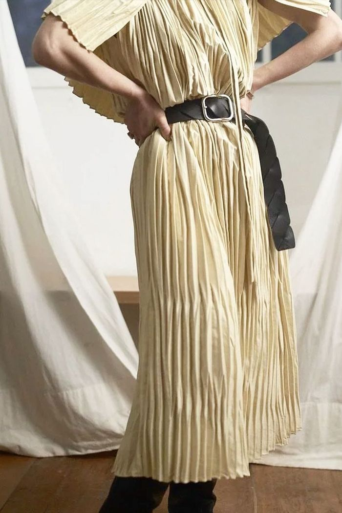 expensive looking trends for 2021: pleated fabric dress