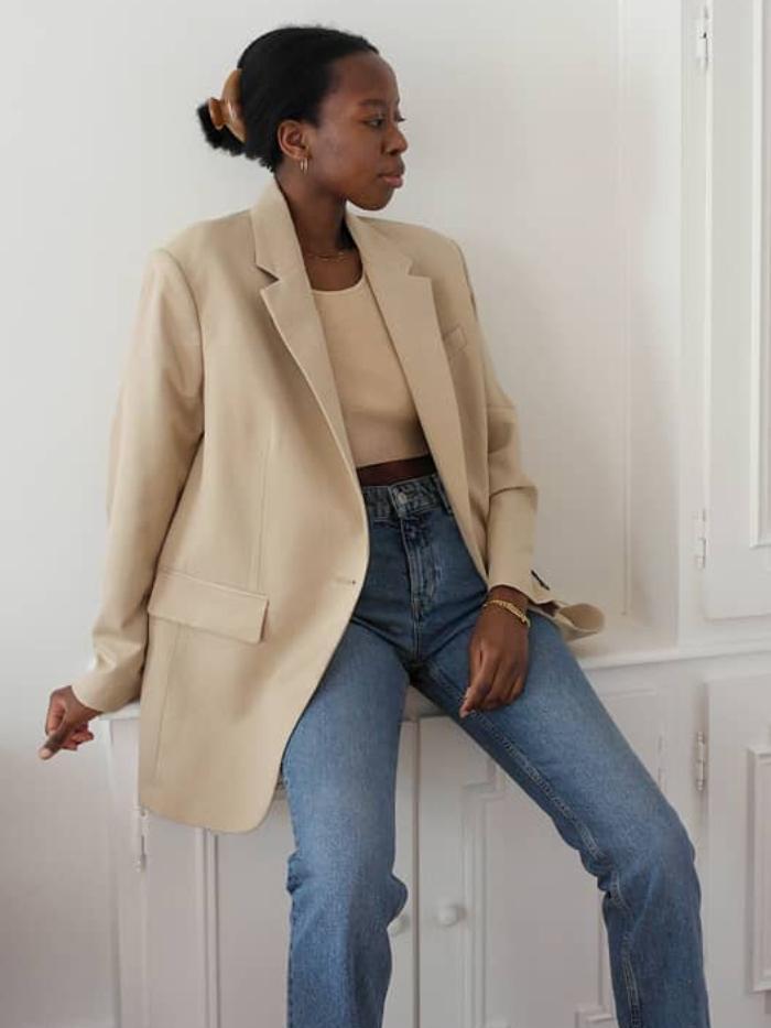 best mango coats: sylvie mus wearing a mango blazer