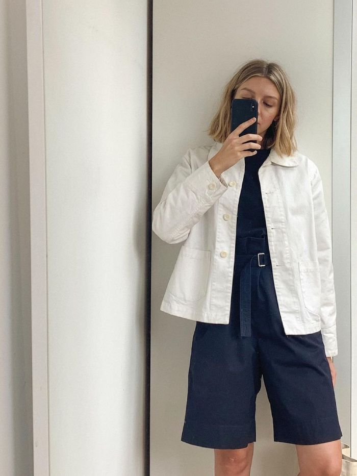 best chore jackets for women: brittany bathgate wearing a chore jacket