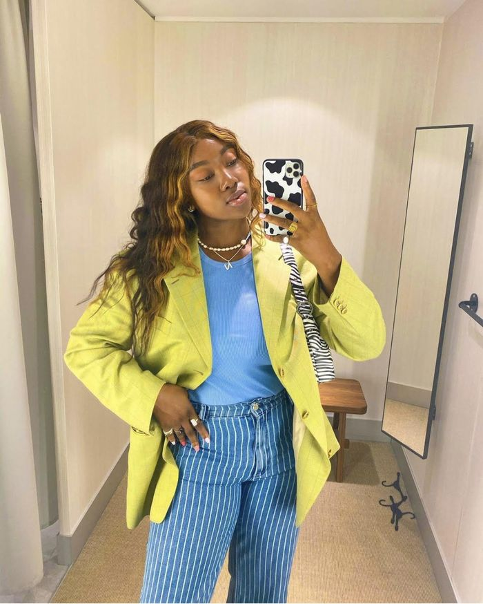 Money Piece Hair: Nnenna Echem wearing the face-framing highlights