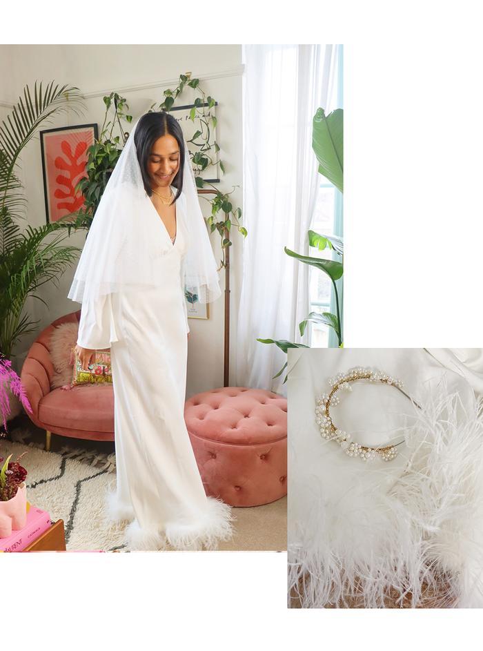 Rixo wedding dresses:feather trim dress