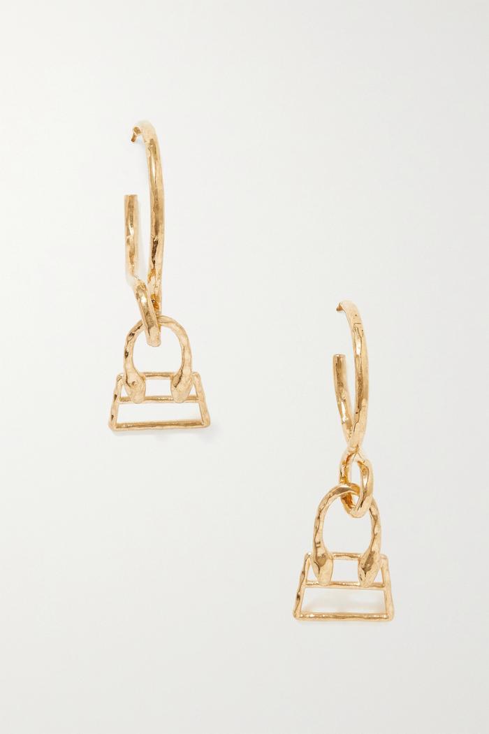 Jacquemus Chiquita Hammered Gold-Tone Hoop Earrings