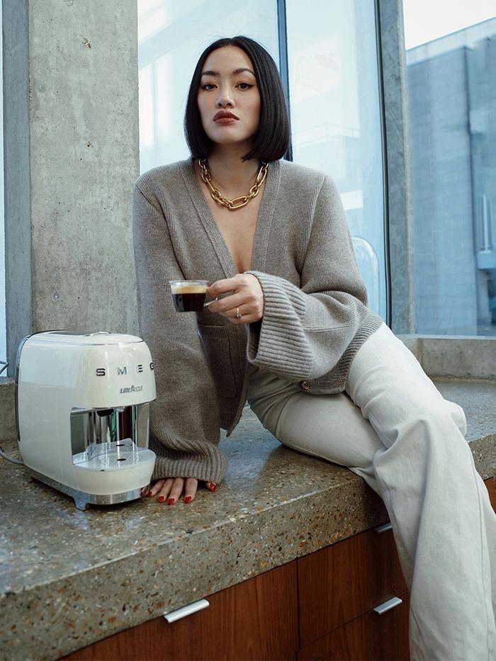 Tiffany Hsu Style: Khaite Cardigan + Denim