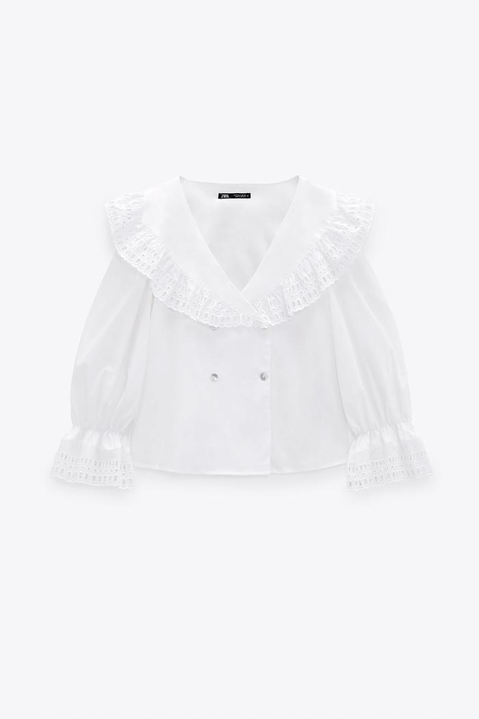 Zara Embroidered Collar Shirt