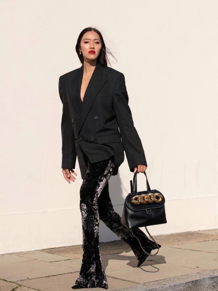 blazers and leggings outfits: tiffany hsu in black leggings and black blazer