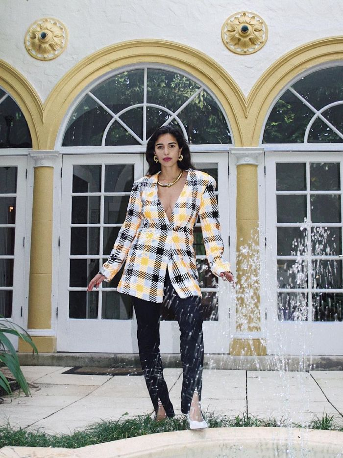blazers and leggings outfits: bettina looney in a checked jacket and black leggings