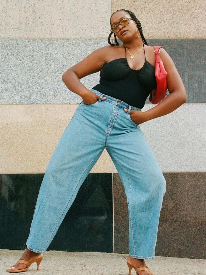 best barrel-leg jeans: imani randolph wearing barrel-leg jeans