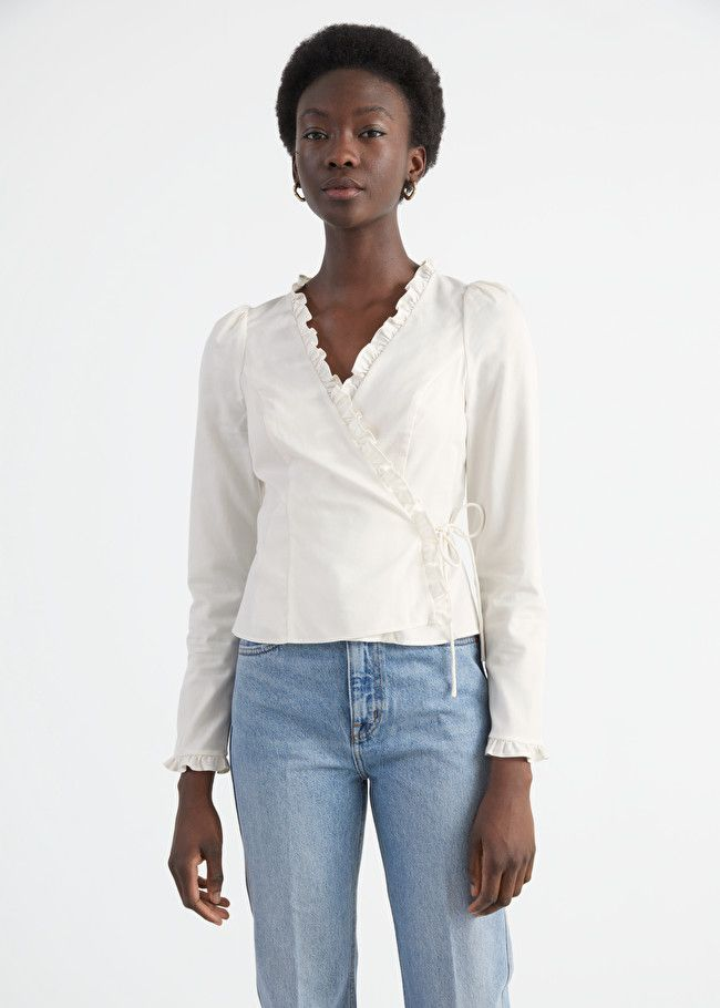 & Other Stories Tailored Ruffle Wrap Top