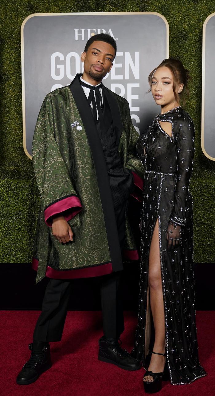 2021 Golden Globes Ambassadors Satchel and Jackson Lee in Gucci
