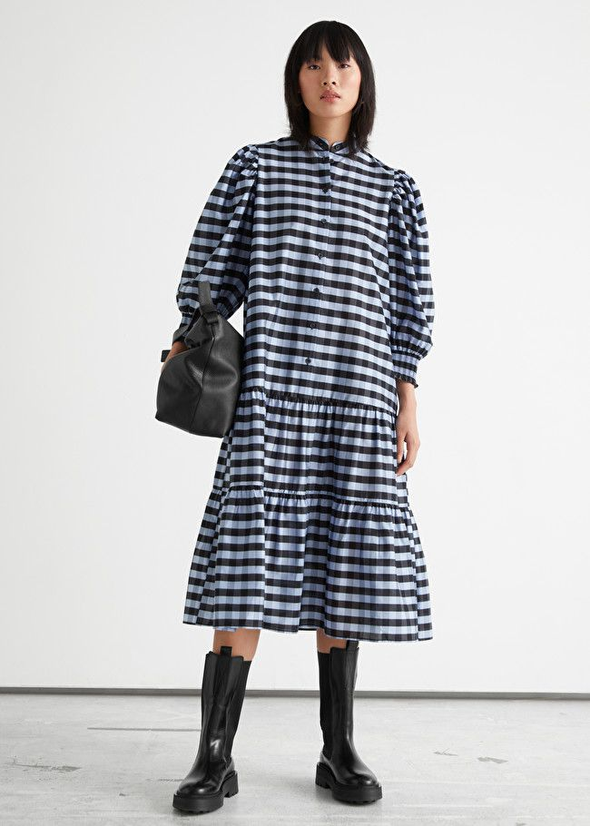 & Other Stories Wide Tiered Puff Sleeve Midi Dress