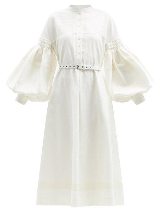 Zanini Belted Balloon-Sleeve Cotton-Blend Dress