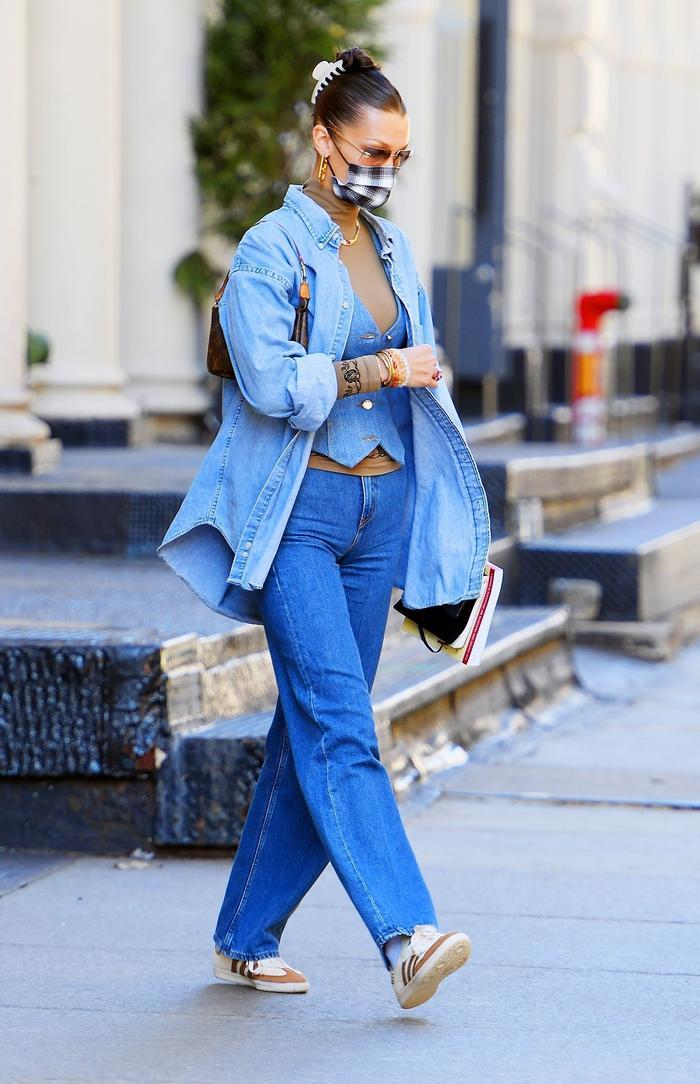 Celebrity denim outfits 2021: Bella Hadid
