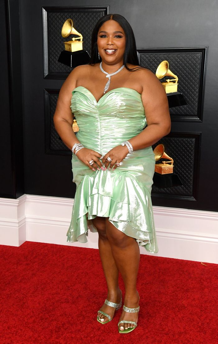 Lizzo Sparkles in Bulgari Jewelry at the 2021 Grammys