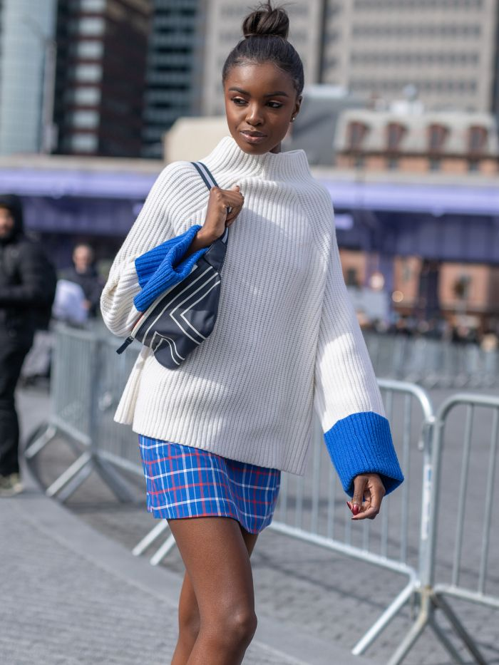 leomie anderson interview: at New York Fashion Week wearing Tory Burch