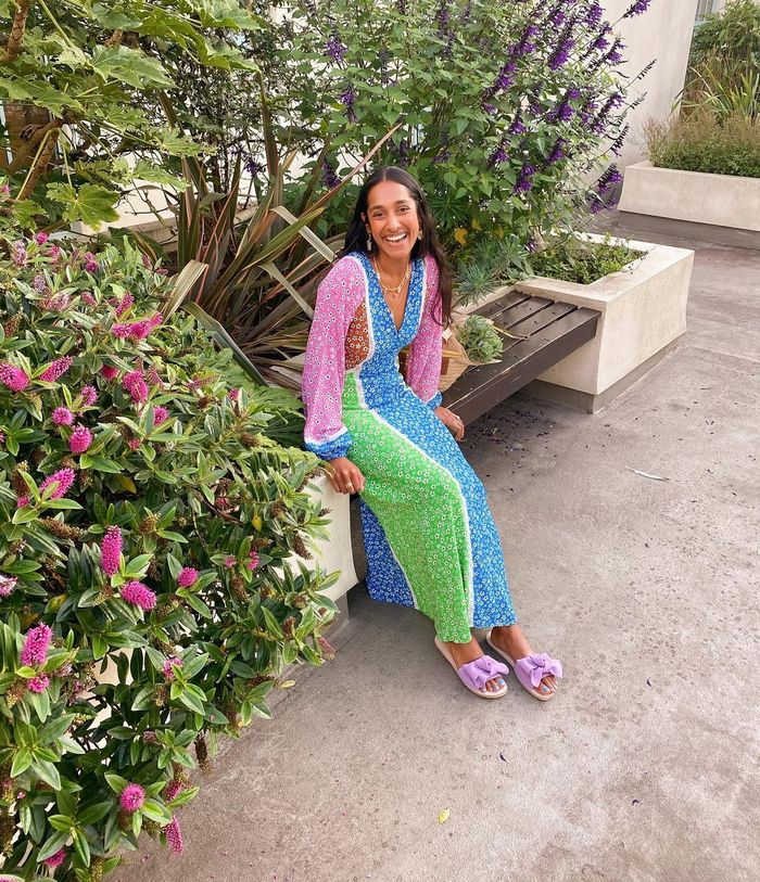 Floral Maxi Dress: @heartzeena wears a floral maxi dress